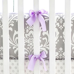 Lavender and Gray Damask Crib Bumper | Wisteria in Lavender Crib Collection