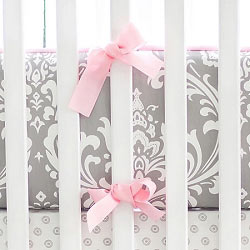 Gray and Pink Damask Baby Bedding | Wisteria Crib Collection