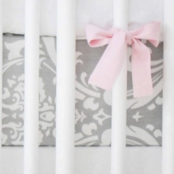 Gray Damask Crib Sheet | Wisteria in Slate Collection