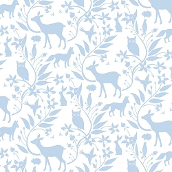 Blue Woodland Fabric | Ana Davis by Blend Born Wild Woodland Creatures Blue