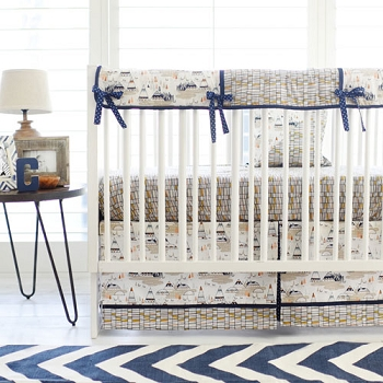 Boy Navy Crib Rail Guard Set | Woodland Oak Collection