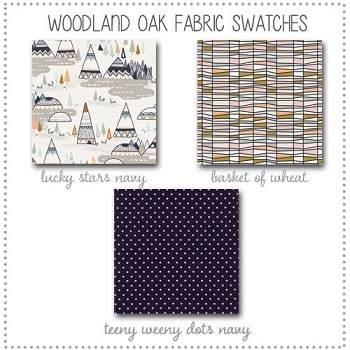Woodland Oak Crib Bedding Collection Fabric Swatches Only