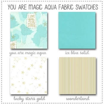You are Magic in Aqua Crib Bedding Collection Fabric Swatches Only