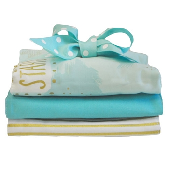 Aqua and Gold Burp Cloth Set | You Are Magic in Aqua Collection