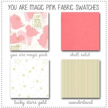You are Magic in Pink Crib Bedding Collection Fabric Swatches Only