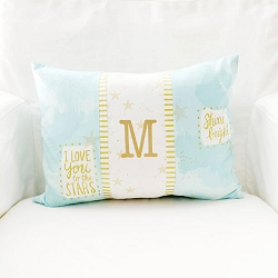 Aqua and Gold Pillow | You are Magic in Aqua Crib Collection
