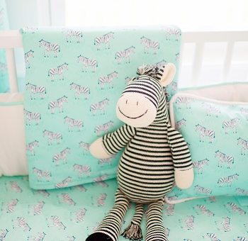 Aqua Animal Print Baby Blanket  |  Zebra Parade in Mint Crib Collection