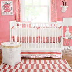 Coral Animal Print Baby Bedding  |  Zebra Parade in Coral Crib Collection