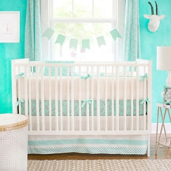 Mint Animal Print Baby Bedding  |  Zebra Parade in Mint Crib Collection