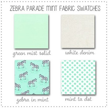Zebra Parade in Mint Bedding Collection Fabric Swatches Only