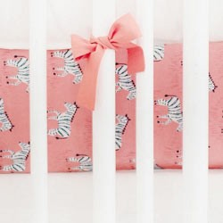 Coral Crib Sheet | Zebra Parade in Coral Collection