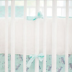 White & Mint Crib Bumper  |  Zebra Parade in Mint Crib Collection