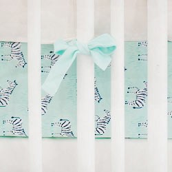 Mint Animal Print Crib Sheet  |  Zebra Parade in Mint Crib Collection