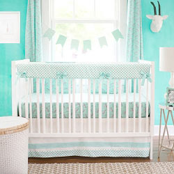 Mint Animal Print Crib Rail Cover  |  Zebra Parade in Mint Crib Collection