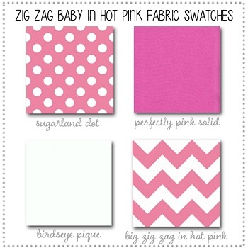 Zig Zag Baby in Hot Pink Bedding Collection Fabric Swatches Only