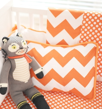 Orange & White Chevron Crib Blanket  |  Zig Zag in Tangerine Crib Collection