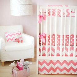 Chevron Baby Bedding | Zig Zag in Hot Pink Crib Collection