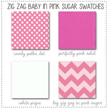 Zig Zag Baby in Pink Sugar Crib Collection Fabric Swatches Only