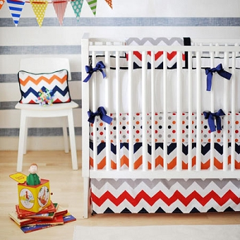 Boy Chevron Baby Bedding | Zig Zag Baby In Rugby Crib Collection