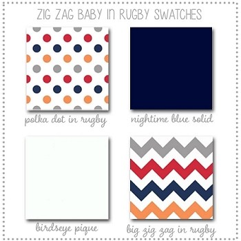 Zig Zag Baby in Rugby Crib Collection Fabric Swatches Only