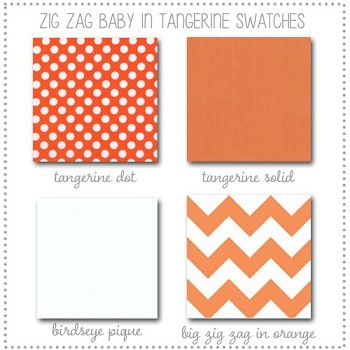 Zig Zag Baby in Tangerine Bedding Collection Fabric Swatches Only