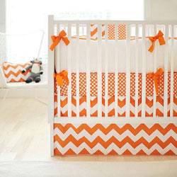 Orange Chevron Baby Bedding | Zig Zag Baby in Tangerine Crib Collection