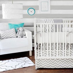 Gray Chevron Crib Bedding | Zig Zag in Gray Baby Bedding Chevron Collection