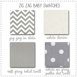 Zig Zag Baby in Gray Crib Collection Fabric Swatches Only