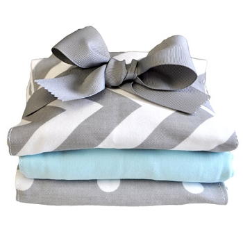 Aqua and Gray Burp Cloth | Zig Zag in Aqua Collection