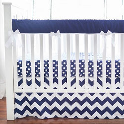 Navy Crib Rail Cover  |  Zig Zag Baby in Navy Crib Collection