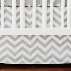 Gray Chevron Crib Skirt | Zig Zag Baby in Gray Crib Collection