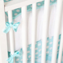 White & Aqua Crib Bumper | Zig Zag Baby in Aqua Crib Collection