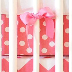 Pink Polka Dot Crib Sheet | Zig Zag Baby in Hot Pink Collection