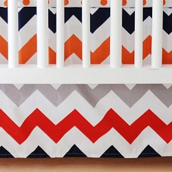 Boy Chevron Crib Skirt  |  Zig Zag Baby in Rugby Crib Collection