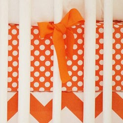 Orange Polka Dot Crib Sheet | Zig Zag Baby in Tangerine Collection