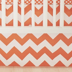 Orange Chevron Crib Skirt | Zig Zag Baby in Tangerine Crib Collection