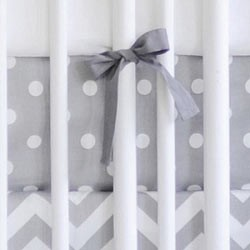 Cotton Polka Dot Crib Sheet | Zig Zag in Gray Bedding Collection