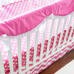 Chevron Nursery Rail Guard Set | Zig Zag in Hot Pink Crib Collection