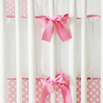 Hot Pink & White Crib Bumper