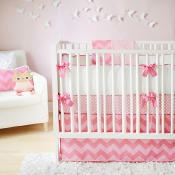 Pink Chevron Baby Bedding  |  Zig Zag Baby in Pink Sugar Crib Collection