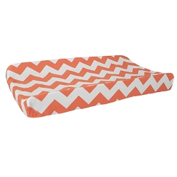 Orange Chevron Changing Pad Cover | Zig Zag Baby in Tangerine Crib Collection
