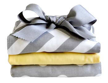 Yellow and Grey Burp Cloth Set | Zig Zag in Yellow Collection