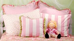 Standard Pillow Shams - Pink & White Stripe