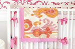Urban Ikat in Fuchsia Crib Bumper