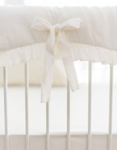 White Linen Crib Bedding Washed In Ivory Collection
