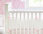 White Pique in Pink Crib Bumper