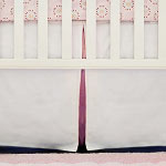 White Pique with Pink Trim Crib Skirt