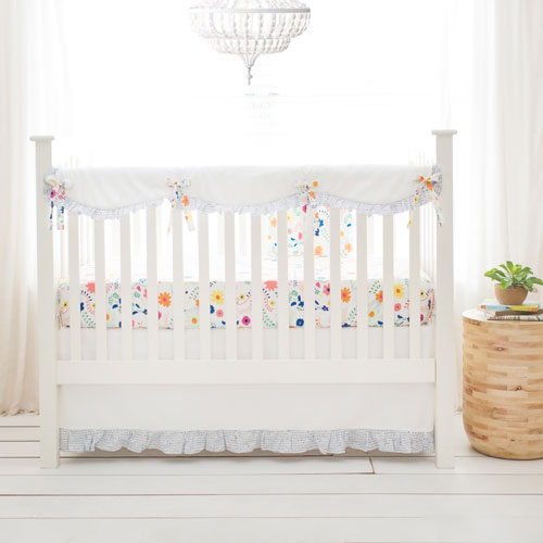 Floral Crib Set   Wildflower Collection - Floral Crib Rail Cover Set Morning Dress Collection