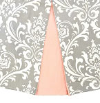 Wisteria in Gray Crib Skirt with Pink Pleats