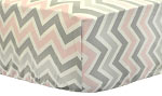 Zig Zag in Pink & Gray Crib Sheet